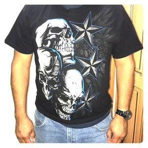 Hybrid tees Men's skull shirt in black size Large